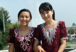 Uzbek girls on traditional daily dress